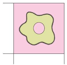 Figure 1: One flower sewn in position
